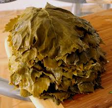 Grape leaves ready for rolling Diwali